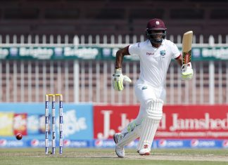 Kraigg Brathwaite was a study in concentration during his 12th Test fifty © Getty Images